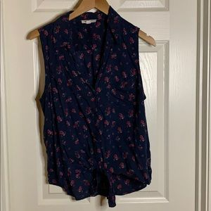 Floral tank top blouse with front tie